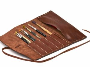 Alta Andina Leather Pen & Pencil Roll Café pouch, roll-up, case, brush, art, brown
