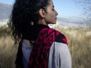 alta andina ikat scarf, artisanal, artisan, craft, cotton, woven, handmade, handwoven, natural, natural dyes