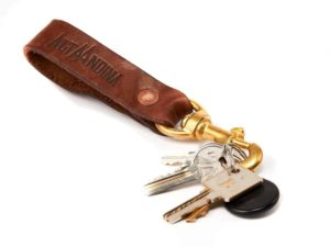 Alta Andina leather keychain, valet, swivel clip, keys, key, ring, café, brown