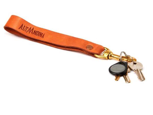 Alta Andina long leather keychain, wristlet, valet, swivel clip, keys, key, ring, miel, brown