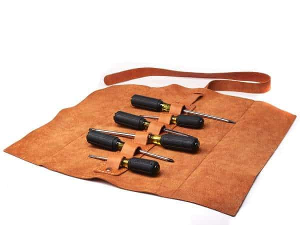 Alta Andina leather tool roll, miel, brown