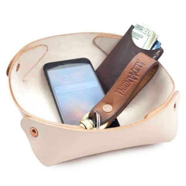 Alta Andina Large Leather Valet Tray. leather catchall, natural, beige