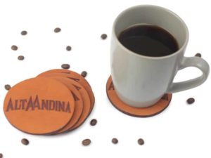 Alta Andina Round Leather Coasters Miel magnetic, drink coaster, brown