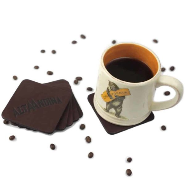 Alta Andina square Leather Coasters café magnetic, drink coaster, brown